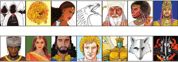 Panels of supporting characters in the Mekonnen Epic, copyright Jerome Matiyas, 2012.